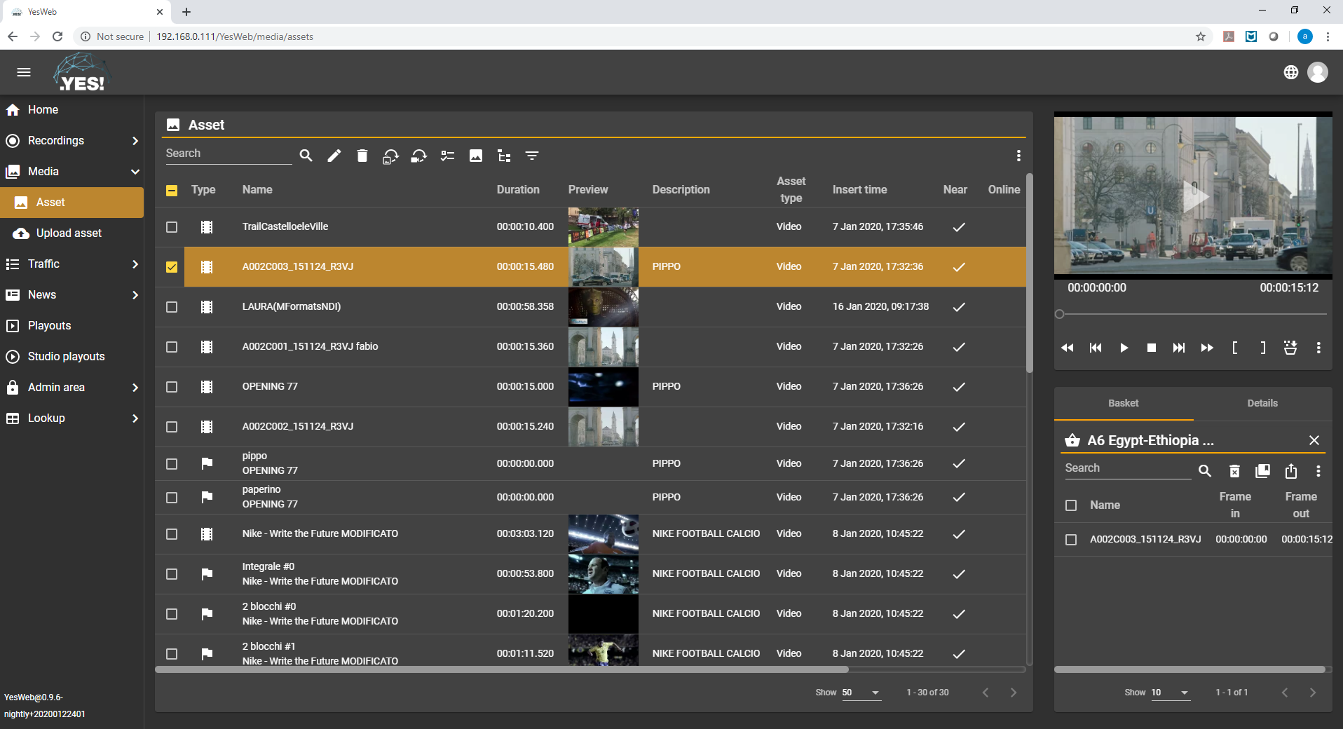 .YES!MAM - Asset Archive user interface